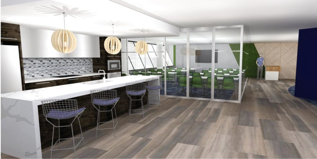 Rendering of a workspace with a kitchen and meeting area behind the kitchen