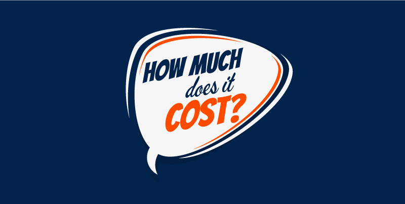 "A speech bubble on a blue background that reads, ""How much does it cost?"""