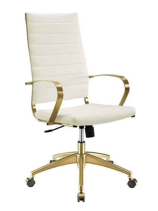 Stainless Steel Highback Office Chair in Gold and White