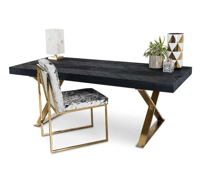 Bordeaux Desk with Brass X Legs
