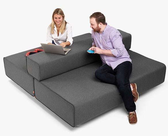 Dark Grey Block Party Lounge Bak-it-up Sofa Poppin