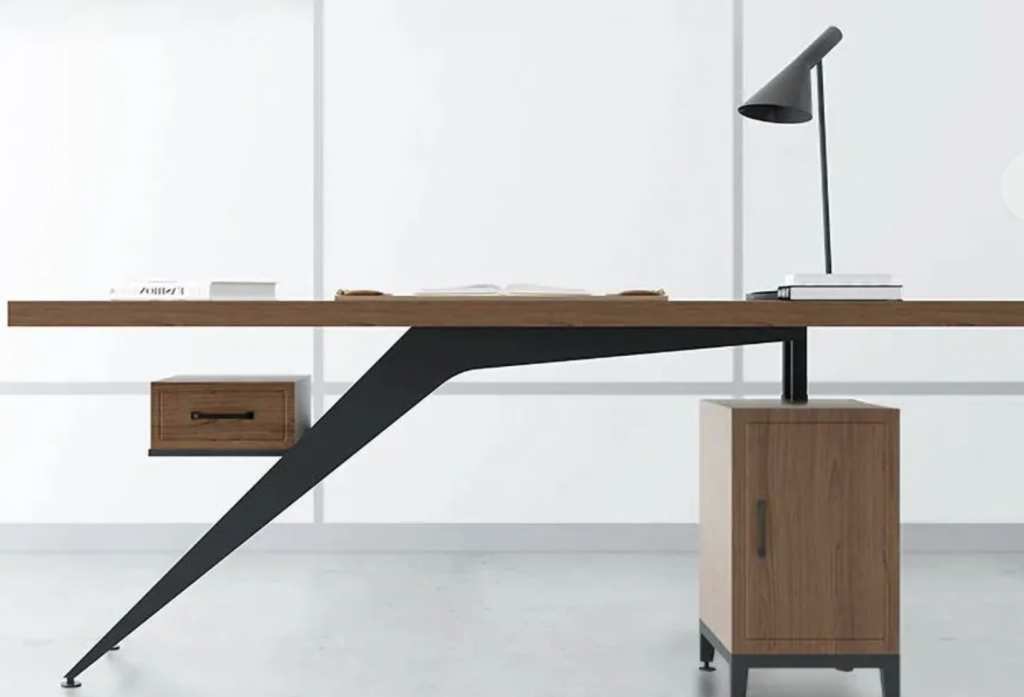 A Mid-Century Modern executive desk made from solid wood and bent metal
