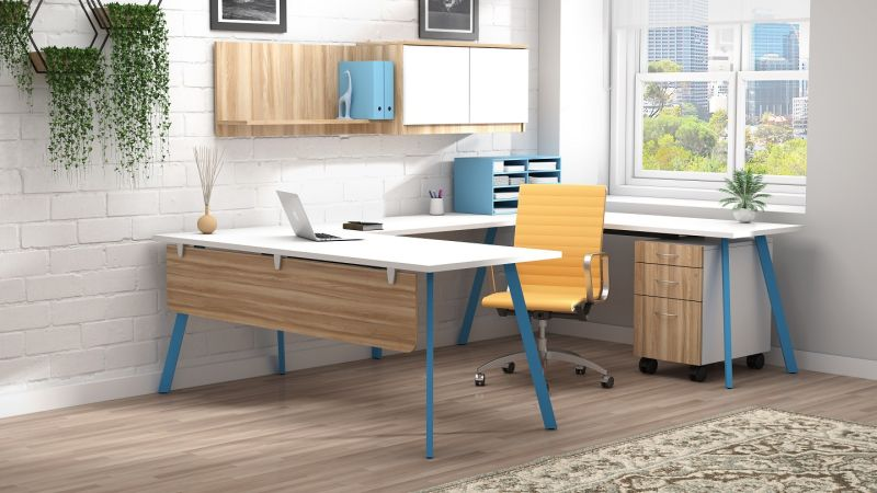 An office with a large blue and white executive desk and a yellow chair