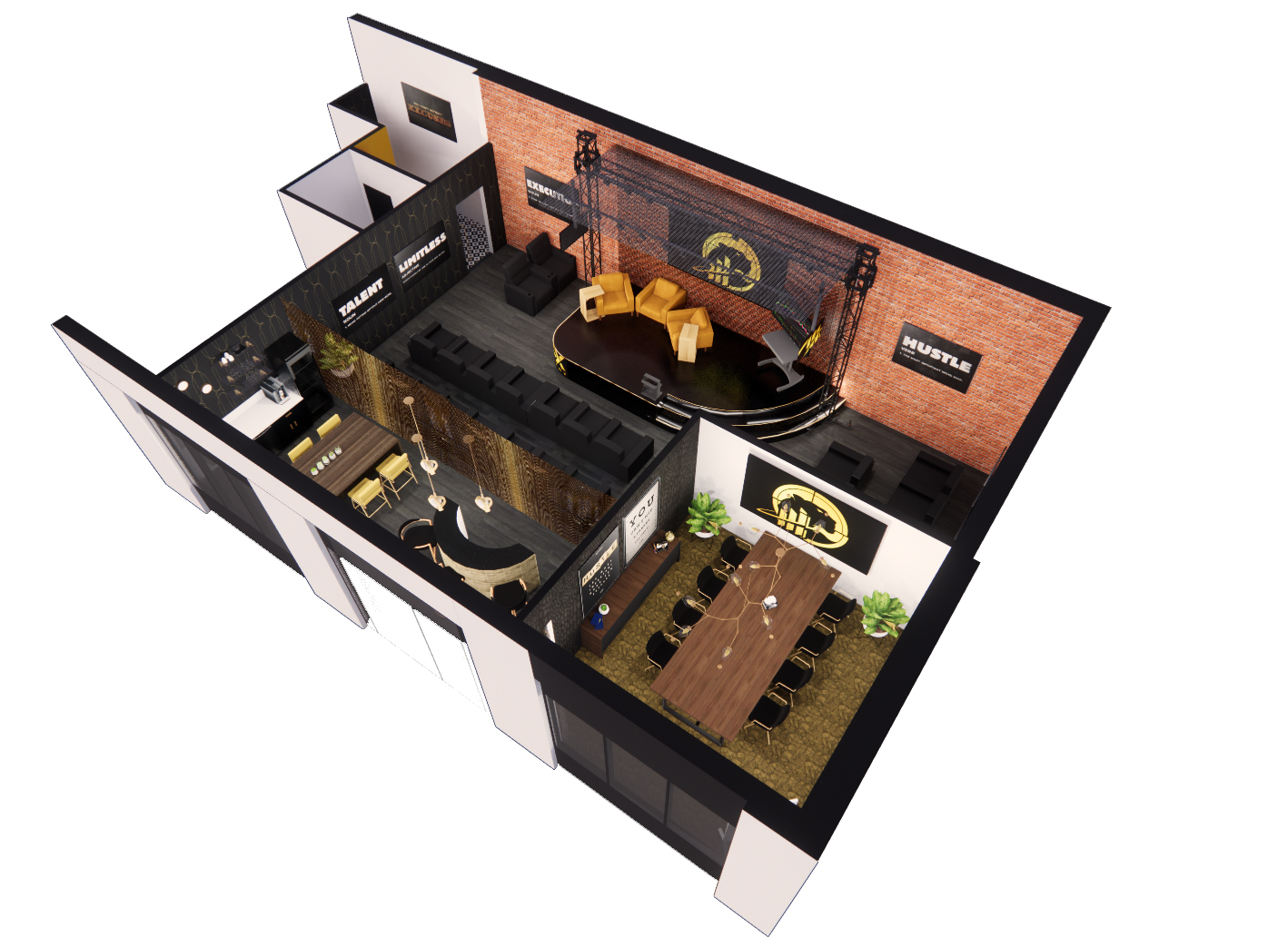 3D Floor plan multiuse space rendering stage event conference room branding high end gold brick moody design stylish